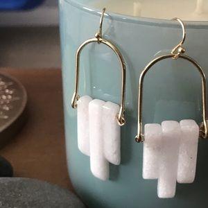 Celestial White stone drop earrings